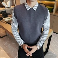 high quality shirt spliced fake 2pieces sweater men clothing 2020 fashion slim fit business casual pull homme formal wear 3xl m