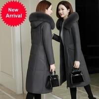 2020 new genuine leather down jacket leather coat womens mid length slim fit fox fur sheepskin