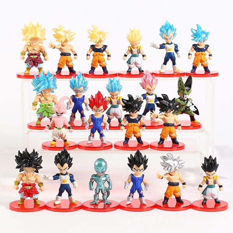 Dragon ball z super saiyan azul filho goku vetega gotenks majin buu broly freeza celular mini figuras pvc brinquedos 21 pçs/set