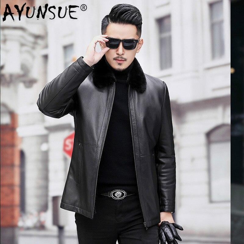 AYUNSUE الرجال سترة جلدية الشتاء الطبيعي المنك معطف الفرو الحقيقي حقيقية السترات الجلدية الجنين جلد البقر جلدية معطف A19-17859