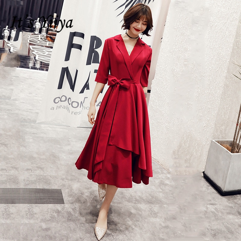 Yiiya AR307-فستان سهرة أنيق ، ياقة على شكل v ، نصف كم ، مع فيونكة ، لون خمري ، طول الشاي ، شبه رسمي ، مجموعة 2020