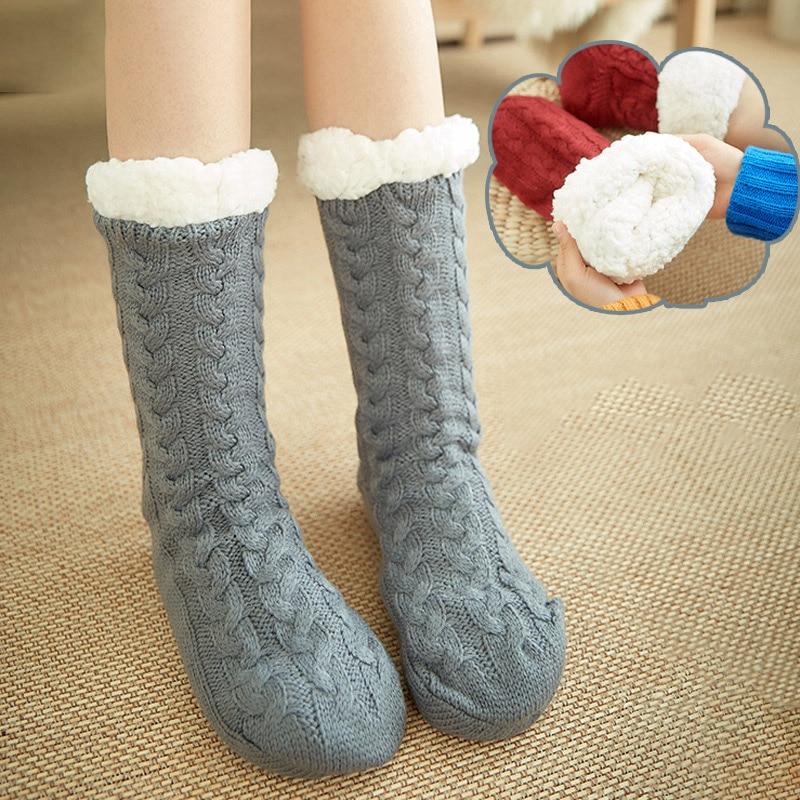 Нескользящие носки-тапочки женские толстые теплые носки осень-зима плюшевые хлопковые носки для взрослых теплые носки-тапочки средней дли...