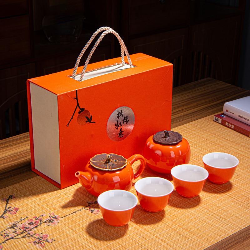 6 قطعة/المجموعة الإبداعية السيراميك طقم شاي البرسيمون شركة الاجتماع السنوي مع هدية اليد