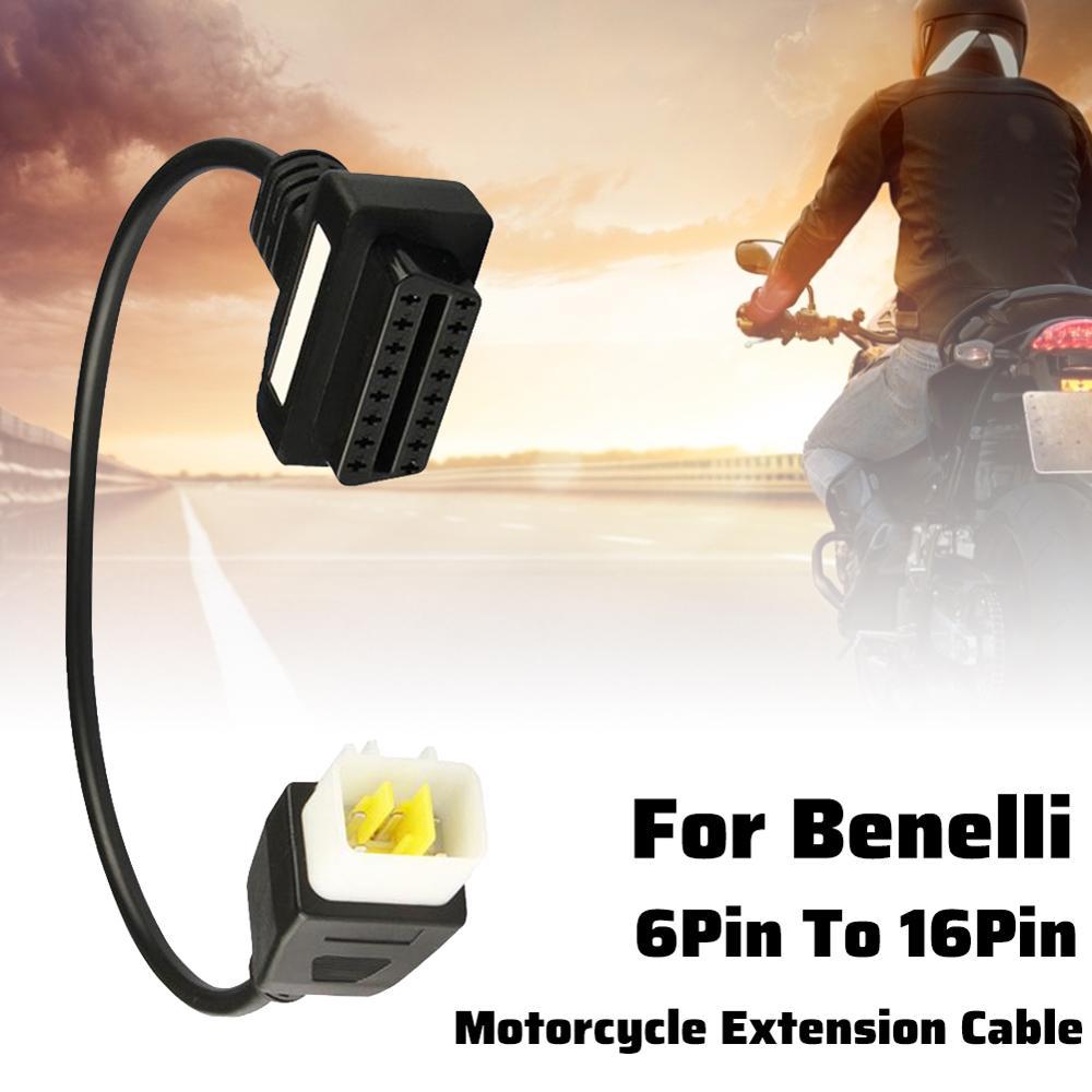 Адаптеры OBD2 для мотоцикла, 6-16 контактов, диагностические инструменты, разъемы OBD, Удлинительный кабель для автоцикла BENELLI, автомобильные акс...