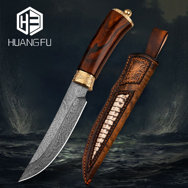 Feather stripe Damascus high-end collection knife outdoor knife fixed blade hiking hunting knife handle inlaid with 24K gold