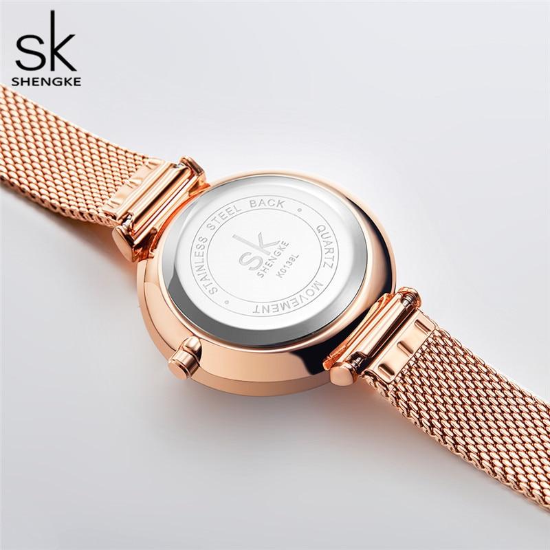Shengke Top Luxury Brand Women Watch Unique Design Big Flower Dial Quartz watches Mesh Steel Band Waterproof Wristwatch Female enlarge