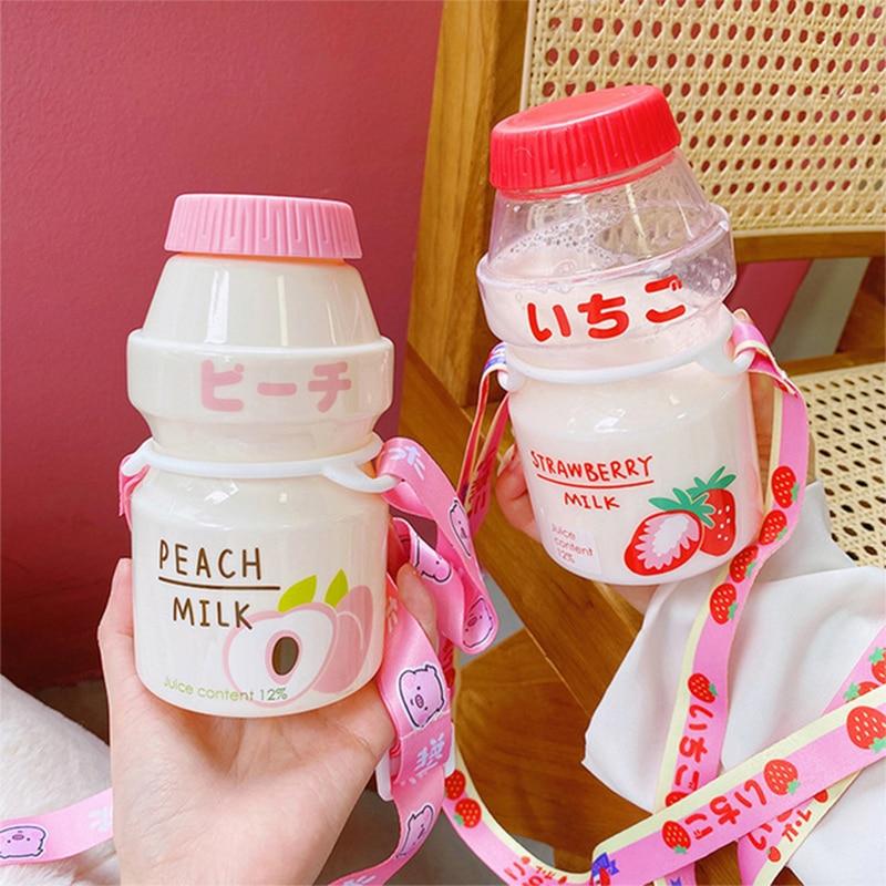 Yakult Plastic Water Bottle Cute Cartoon Student Child Bottle Milk bottle Tour Drinking Shaker Bottle for Kids/Girl/Adult Gift