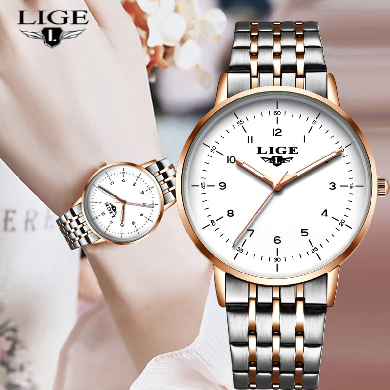 LIGE 2021 New Gold Watch Women Watches Ladies Creative Steel Women's Bracelet Watches Female Waterpr