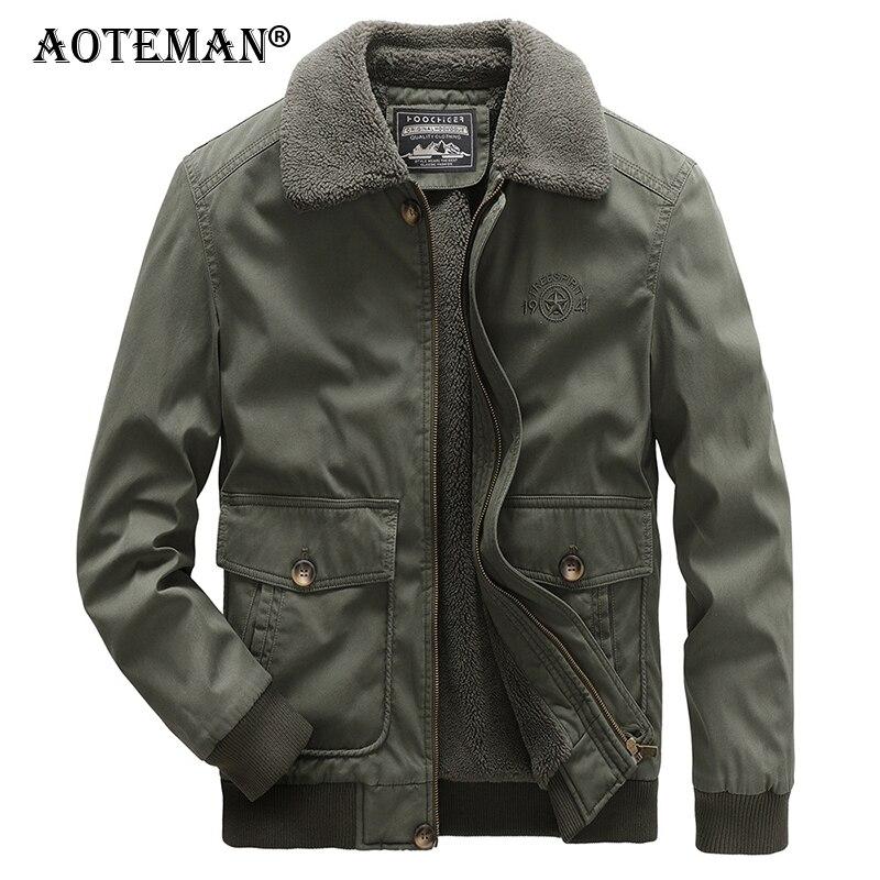 Мужские зимние куртки, куртки-бомберы, мужские флисовые теплые парки, ветровка, верхняя одежда, однотонная мужская одежда, летная военная ку...