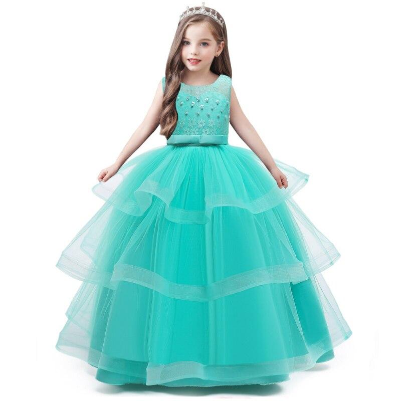 جديد فستان الأميرة للأطفال ، الأطفال كبيرة صافي الشاش توتو تنورة ، فتاة طويلة المنصة أداء زي زهرة فتاة فساتين