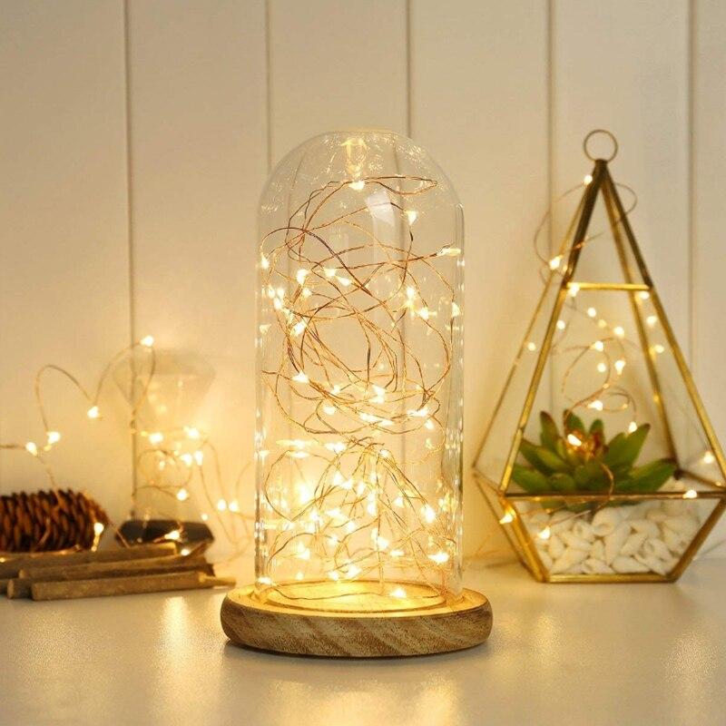 2 uds Mini luces de cadena de cobre guirnalda con alambre alimentado por batería 20 30 guirnalda de luces LED a casa en Navidad decoración para fiesta de boda