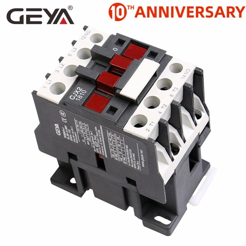GEYA CJX2-1810 carril Din magnética AC Contactor precio 220V o 380V Industrial Contactor 18A 50/60Hz