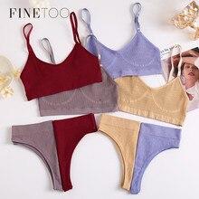 FINETOO-Conjunto de bragas sin costuras para mujer, Tops de algodón de cintura baja, ropa interior suave activa, lencería, Top corto de Fitness