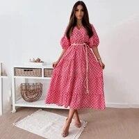 midi puff sleeve v neck long summer loose floral print womens dress 2021 lady casual elegant belt feminine beach party dresses