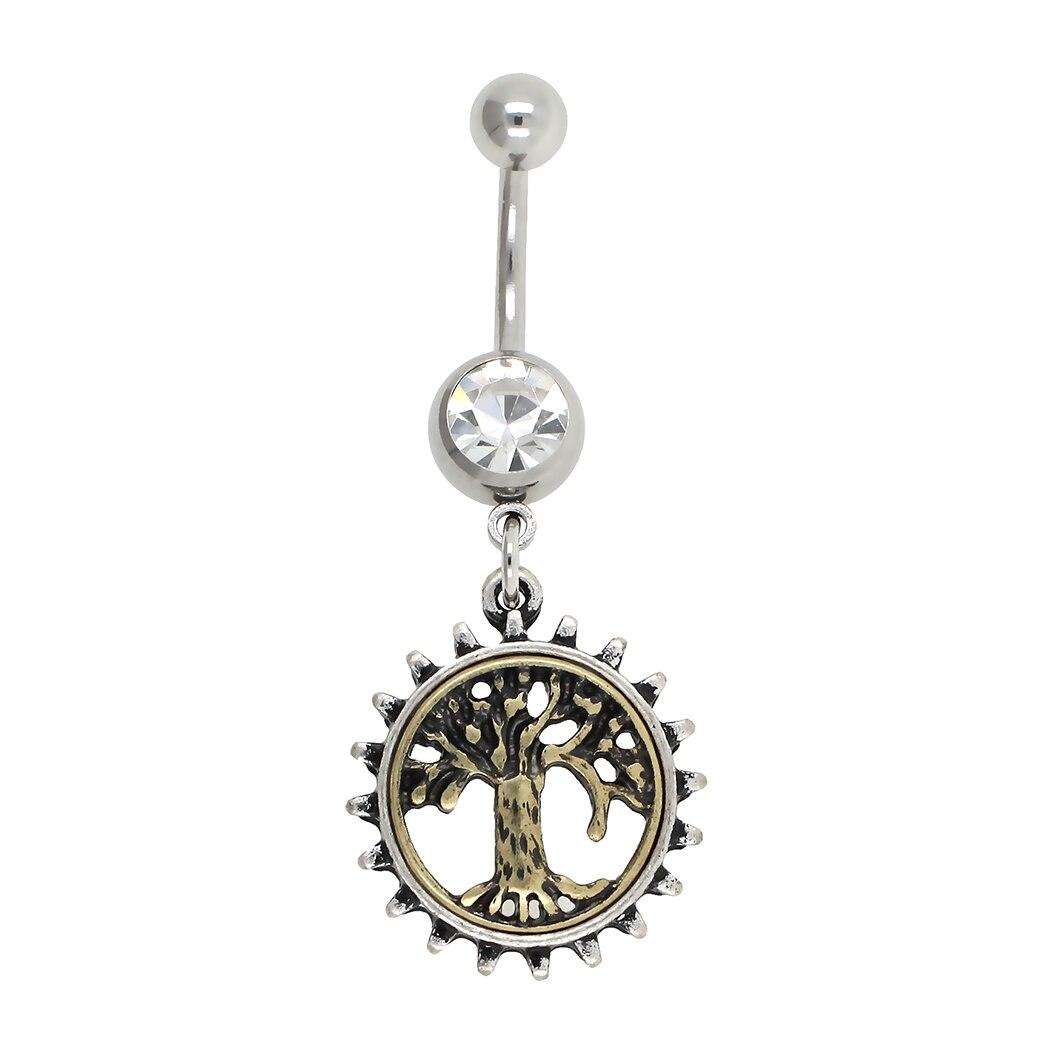 Jhjt 1pc nova moda anel de barriga balançar árvore da vida em forma de sexy belly button barra corpo piercing jóias 14g