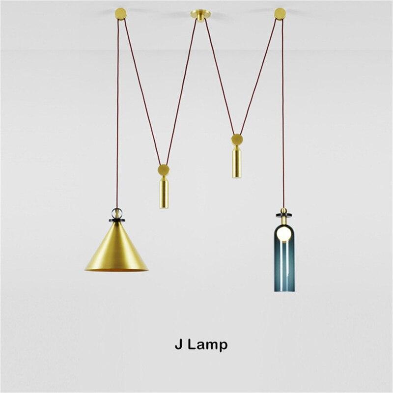 Lámparas colgantes de polea de diseño nórdico de Denmark botella de arte creativo comedor sala de estar Led suspensión interior accesorios de luz