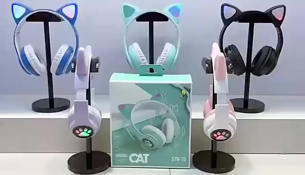 2021 NEW Amazon LED Flash Cute Cat Ear BT Wireless Headphone foldable for girls headphones 3.5mm AUX TF card with Mic Helmet enlarge