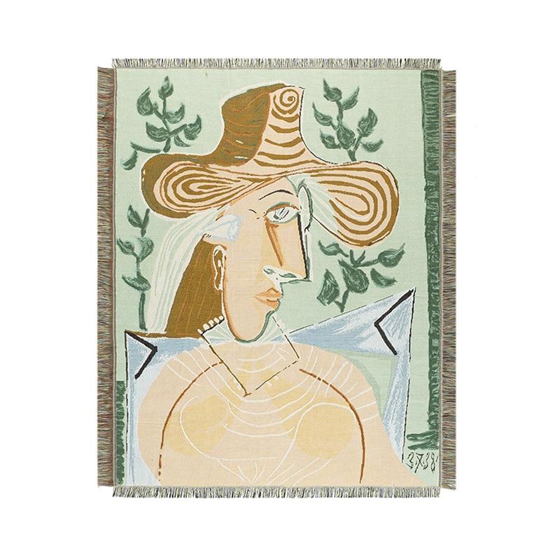 Picasso abstrato menina cobertor criativo sofá cobre tapete de piquenique tricô jogar tapete grosso piquenique estilo espanhol arte xale