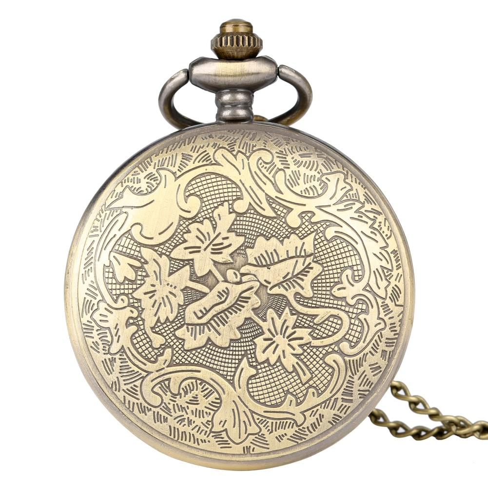 Jam tangan gangsa retro H jam tangan saku kuarza analog rantai loket - Jam poket - Foto 6