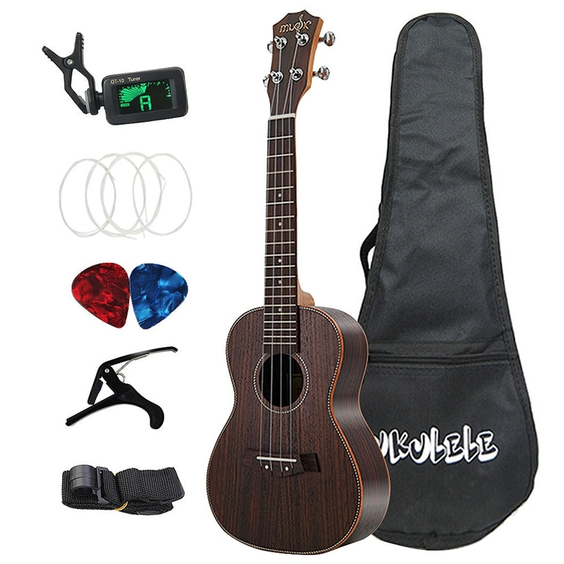 Concert Ukulele Set 23 Inch Rosewood Wood Acoustic Ukelele 4 Strings Hawaiian Guitar Music Instrument 21 inch acoustic guitar wood ukulele set ukulele concert ukulele soprano kit guit медиаторare uke bass 18