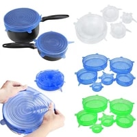 food silicone cover universal silicone lids for cookware bowl pot lid reusable stretch lids wrap kitchen accessories 6 pcsset