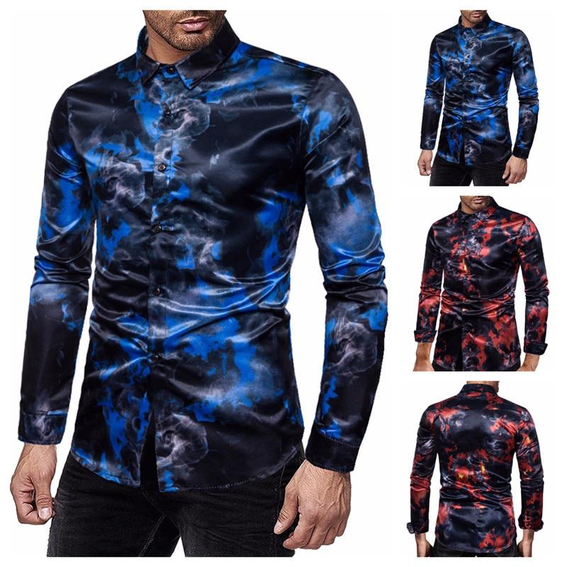 Nueva camiseta ajustada de manga larga de estilo informal con estampado de llamas de negocios y personalidad para hombre