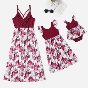 PatPat 2021 New Summer Mommy and Me Floral Print Splice Solid Tank Dresses for Woman Dress and Girl Dress and Baby Romper