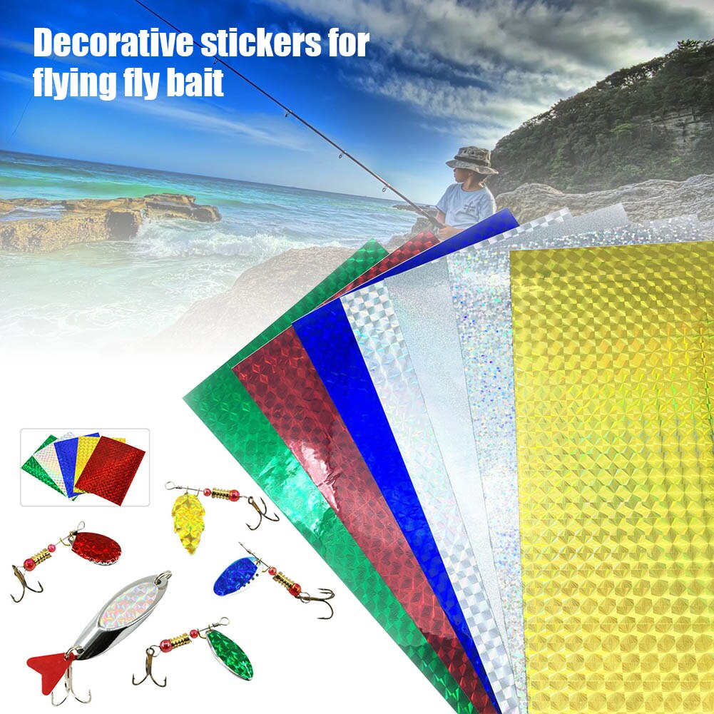 10 hojas holográfica reflectante pesca señuelo cinta que hace prisma cinta FK88