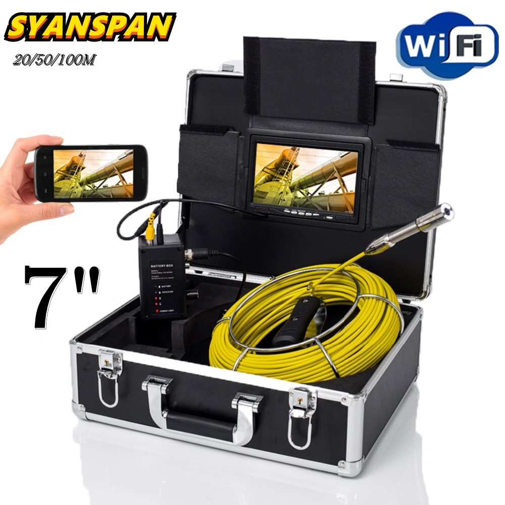 Promo SYANSPAN 7inch Monitor 20/50/100M WiFi Pipe Inspection Video Camera,23MM Drain Sewer Pipeline Industrial Endoscope Camera