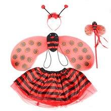 Bee Marienkäfer Kostüme 4 Stück Sets für Kinder Mädchen Nette Partei Phantasie Kleid Cosplay Flügel + Tutu Röcke Gelb Rot