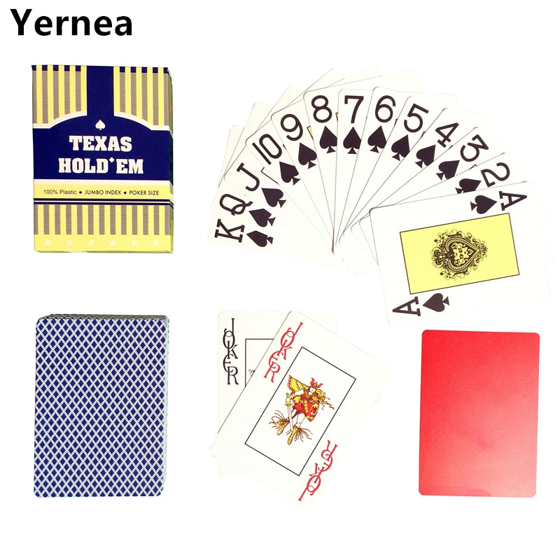 New Arrival red and blue 1 piece poker Baccarat Texas Holdem Waterproof Frosting plastic playing cards 2.48*3.46 inch Yernea