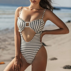 Hollow out White Striped Swimming Suit for Women One Piece Swimwear 2020 New Padded Monokini Push Up Sexy May Beach Badpak