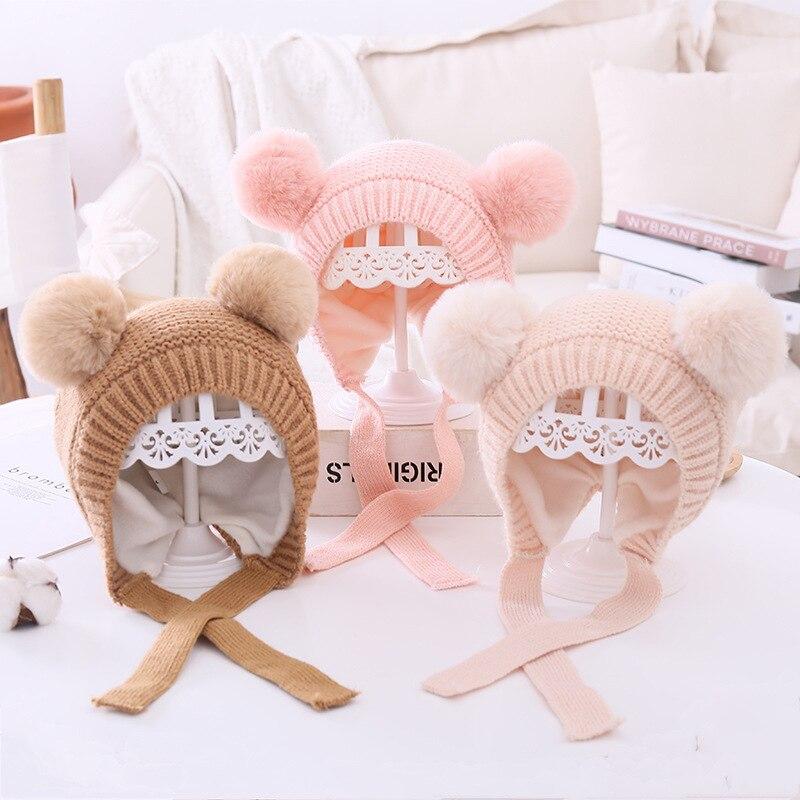 Sombreros de punto con encaje cálido para bebé, pompones tejido con gorro...