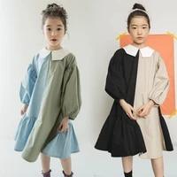 girls loose dtitching dress 2021 new spring autumn teen girls lantern sleeve dress princess dress personality dress two colors