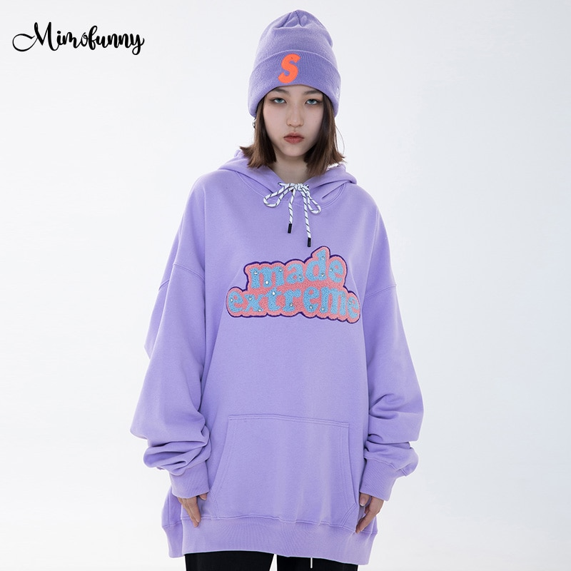 Mimofunny Women Hoodies Harajuku Letter Embroidery Hooded Sweatshirts Couple Spring Casual Pullover Hip Hop Oversized Streetwear