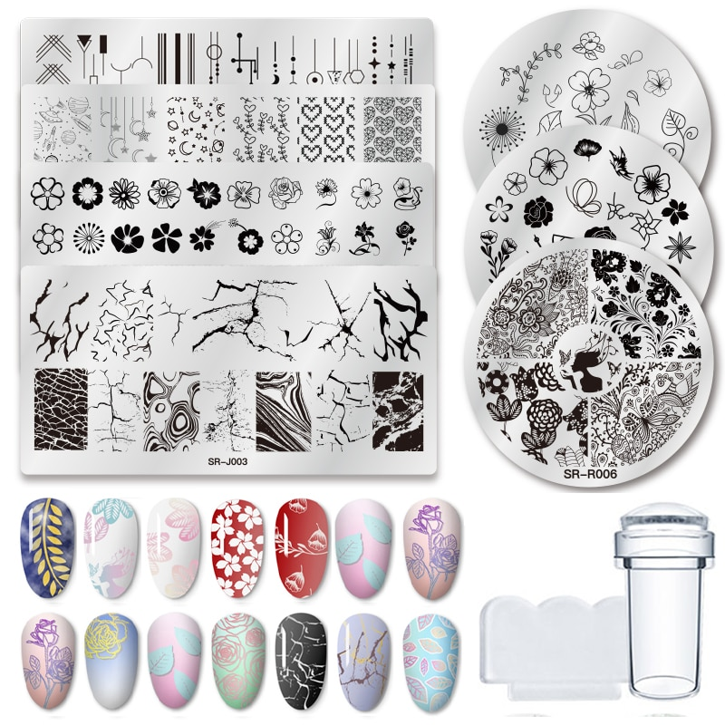 1 Pcs Nail Stamping Plates Marble Texture Flower Nail Art Plate Stainless Steel Design Stamp Template for Printing Stencil Tools 1pcs black flower lace nail stamping plates stainless steel nail art stamp template manicure tools uv gel nails art decorations
