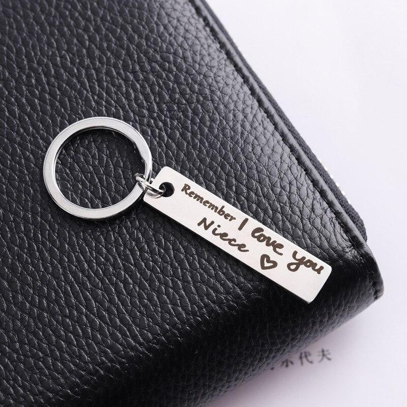 Oeinin Creative Keychain Man Remember I Love You Niece Key Chain Bags Boy Silver Color Key Ring Allo