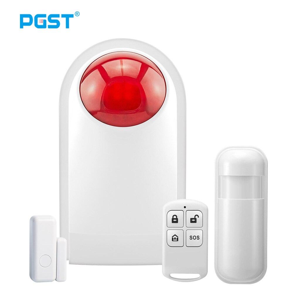 Беспроводная сирена PGST для помещений, мигающий датчик сигнализации для домашняя система охранной сигнализации 433 МГц, подключение к пульту ...