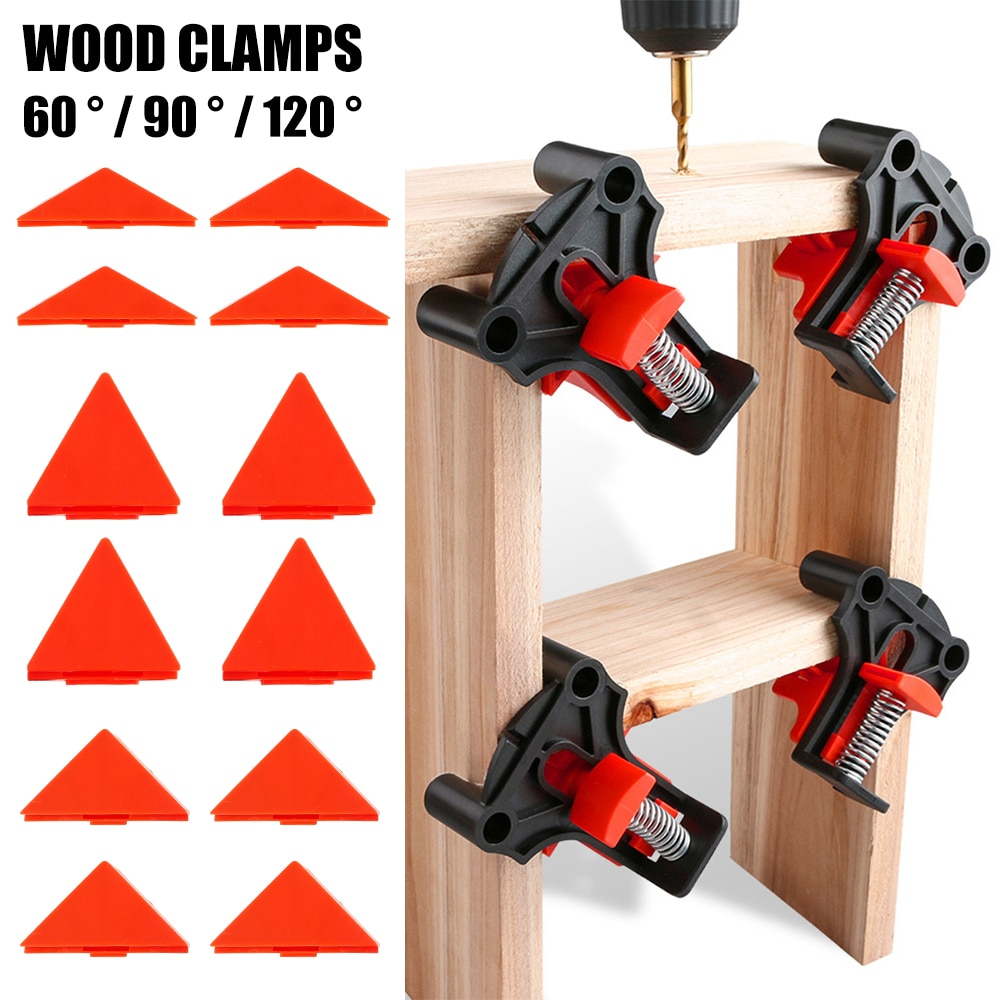 4pcs Wood Angle Clamps 60/90/120 Degrees Woodworking Corner ClampRight Clips DIY Fixture Hand Tool Set for Taper,T Joints,Plate