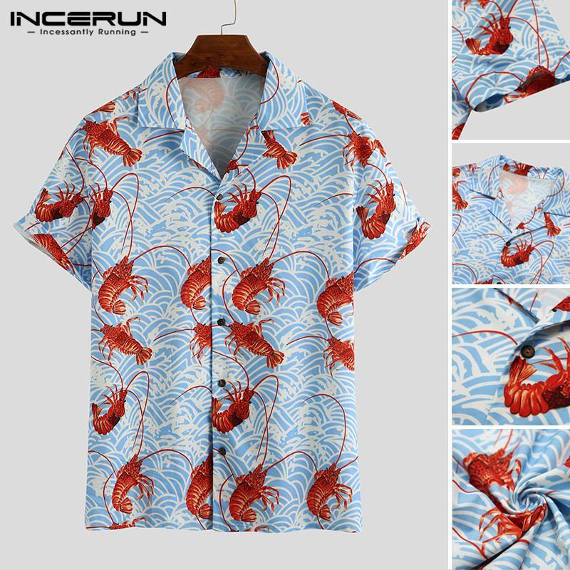 Incerun Man Losse Korte Mouwen Revers Shirts Mannen Kreeft Gedrukt Shirts Zomer Hawaiian Strand Overhemd Casual Vocation Tops S-3XL