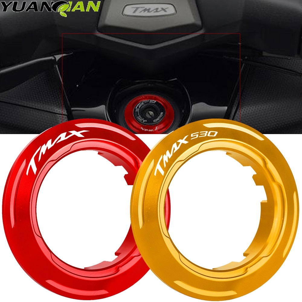 luminous ignition switch cover key aluminum alloy switch decoration ring motorcycle car styling interior accessories promotion New Arrival Motorcycle For Yamaha TMAX T-max 530 2013 2014 2015 Ignition Switch Cover Key Switch Protector Ring Tmax 530 Tmax530