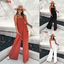 Women Summer Holiday Strappy Jumpsuits Casual Loose Pocket Rompers Solid One Piece Jumpsuits Long Wi