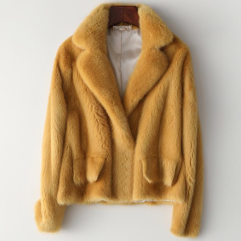 Abrigo de piel Real Chaqueta de piel de visón ropa de mujer otoño invierno abrigo de moda cálido grueso Casacos Feminino HQ19-YTM8555C-1 Lxr34