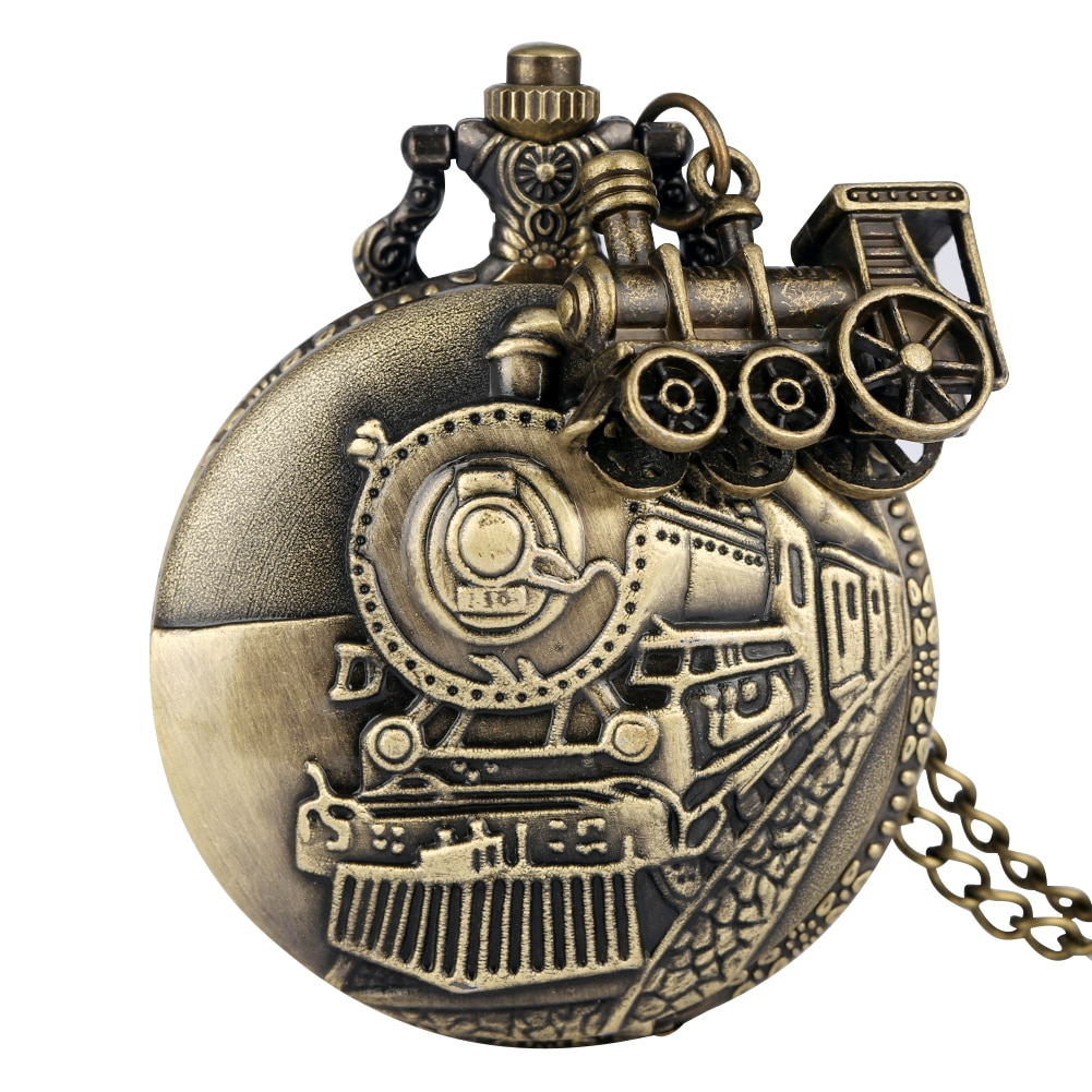 Bronze Pocket Watch for Men Classic Train Over Case Clock Utility Slim Chain Necklace Pendant Accessory Gift relogio de bolso color diamond case cover pocket watch girls sailor moon dial for female fancy red moon pendant clock accessory relogio de bolso