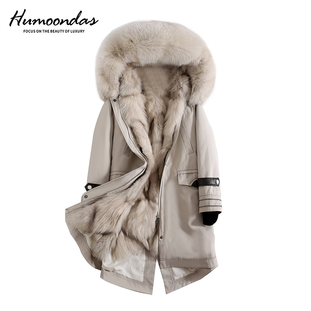 Real Fur Parka Women Outwear With Natural Fur Fox Fur Collar Fox Fur Liner Coat Female Winter Real Fur Jacket with Hood 2020 NEW фото