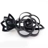 new fashion rose flower hair pins 10 length high quality acrylic black geometric hairpin for women girl hair jewelry accessories