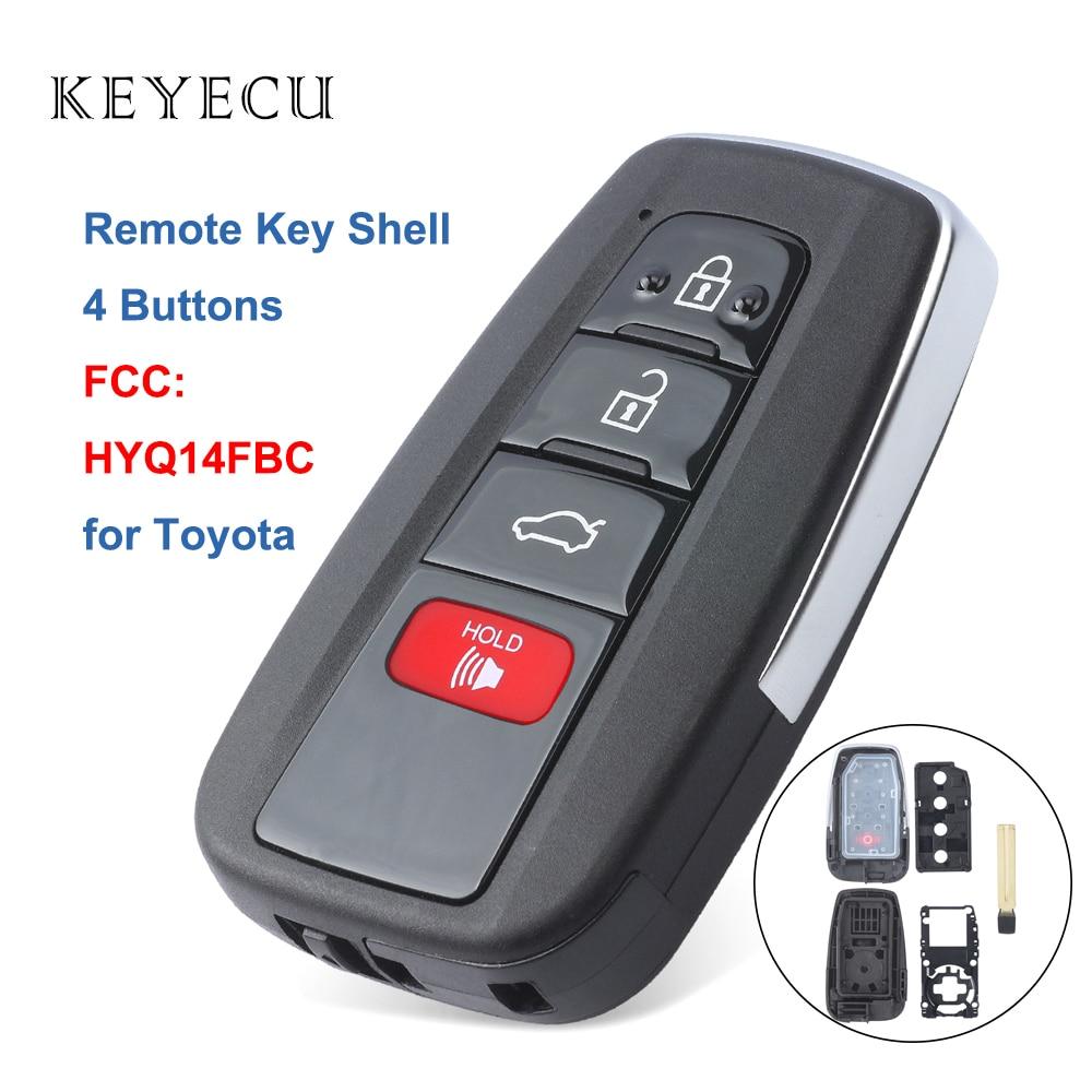 Keyecu Remote Key Shell Case Fob 4 Buttons for Toyota RAV4 2019 Camry 2018-2019 Car Key Shell Case, FCC ID: HYQ14FBC