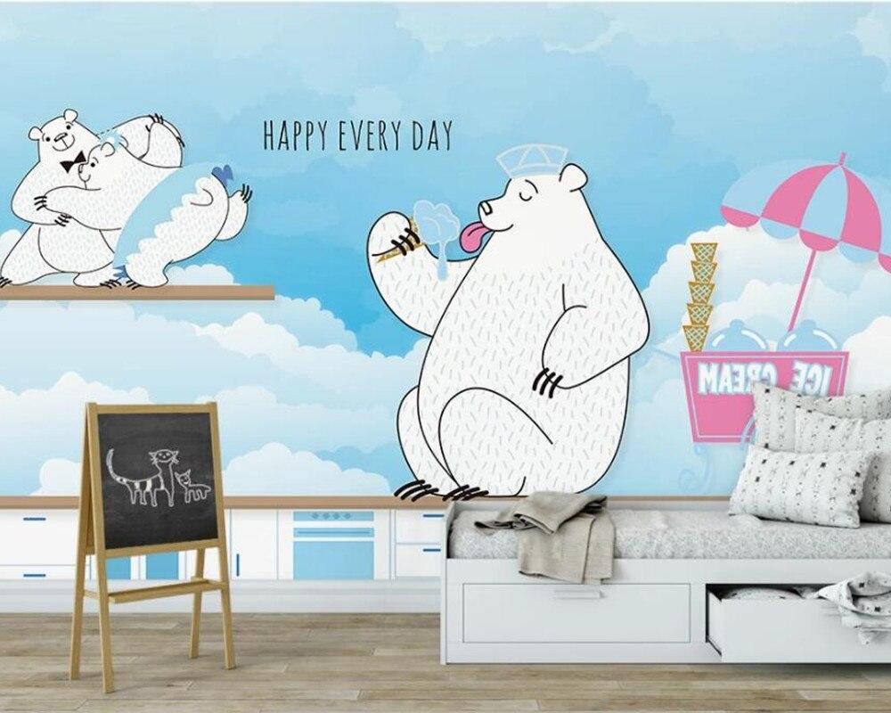 Pared de fondo de oso PINTADO de AZUL a mano AINYOOUSEM para niños papel tapiz de pared papel tapiz 3d