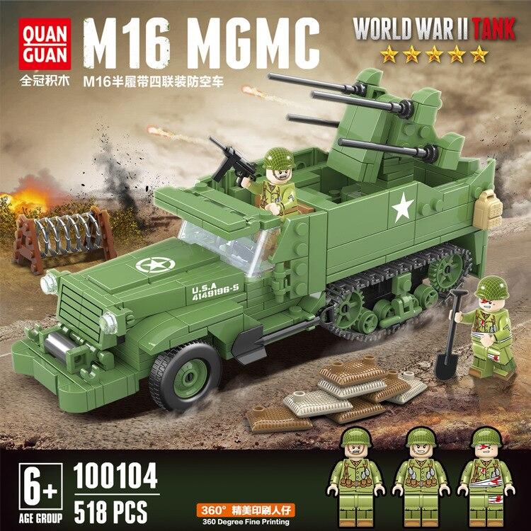 Militar WW2 M16 medio Vehículo de bloques de construcción 518 Uds modelo conjunto militar blindado camión de bloques soldados del ejército juguete para niños