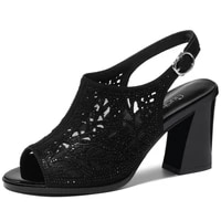 summer women pumps peep toe buckle strap women shoes sexy hollowing out office shoes air mesh high heels black shoes 3 63